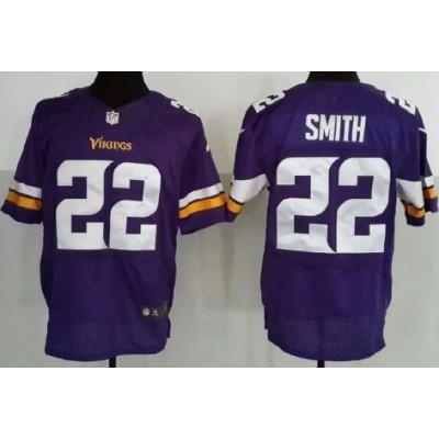 Nike Minnesota Vikings No.22 Harrison Smith Purple Embroidered Elite Jersey