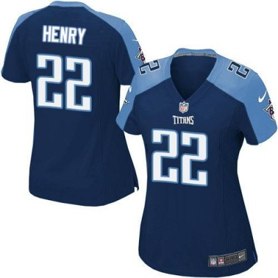 Nike Titans 22 Derrick Henry Navy Blue Alternate Women's NFL Jersey