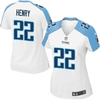 Nike Titans 22 Derrick Henry White Women's NFL Jersey
