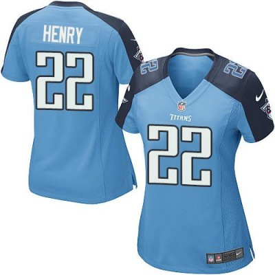 Nike Titans 22 Derrick Henry Light Blue Team Color Women's NFL Jersey