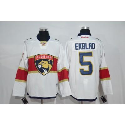 NHL Panthers 5 Aaron Ekblad White New Logo Men Jersey