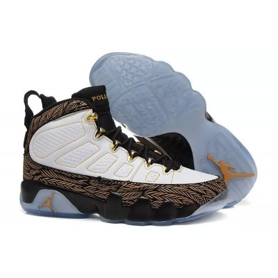 Air Jordan 9 Fluorescent High White Black Golden Men Women Shoes