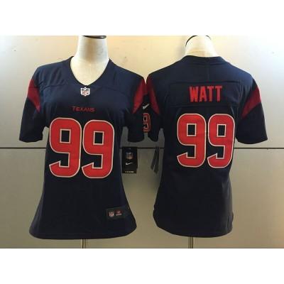 Women Nike Houston Texans 99 J.J. Watt Navy Color Rush Jersey