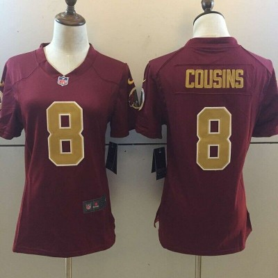 Women Washington Redskins 8 Kirk Cousins Burgundy Jersey