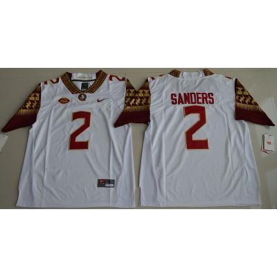 NCAA Florida State Seminoles 2 Deion Sanders White Football 2016 Limited Men Jersey