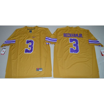 NCAA LSU Tigers 3 Odell Beckham Jr Football Gridiron Gold Throwback 2016 Limited Men Jersey