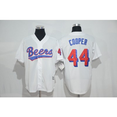 The BASEketball Beers Movie 44 Joe Coop Cooper Button Down White Baseball Jersey