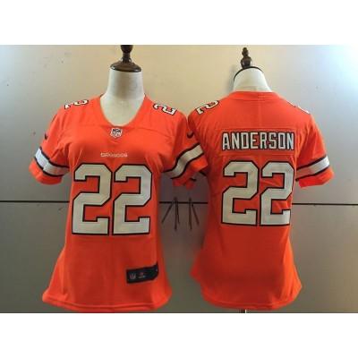 Nike NFL Broncos 22 C.J. Anderson Orange Color Rush Women Jersey
