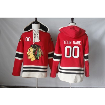 NHL Blackhawks Red Customized Hooded Sweatshirt