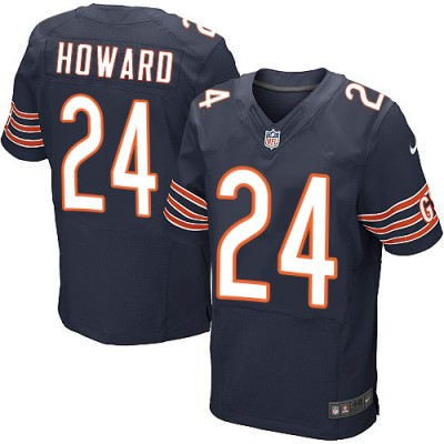 Nike NFL Bears 24 Jordan Howard Navy Blue Men Elite Jersey