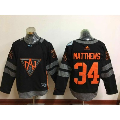 Hockey Team North America 34 Auston Matthews Black 2016 World Cup Men Jersey