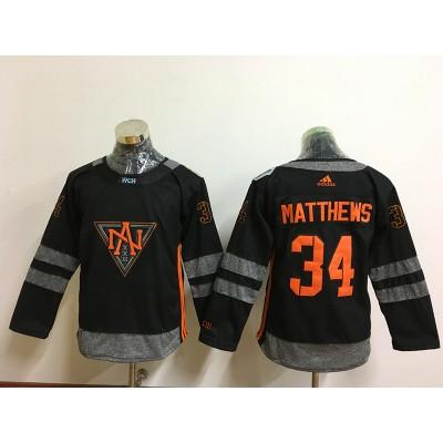 625211bc629 Hockey Team North America 34 Auston Matthews Black 2016 World Cup Youth  Jersey