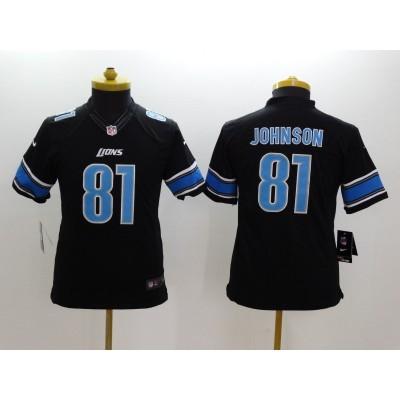 Nike NFL Lions 81 Calvin Johnson Black Youth Jersey
