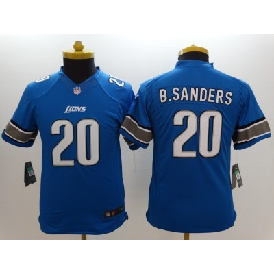 Nike NFL Lions 20 Barry Sanders Blue Youth Jersey
