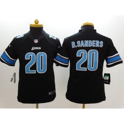 Nike NFL Lions 20 Barry Sanders Black Youth Jersey