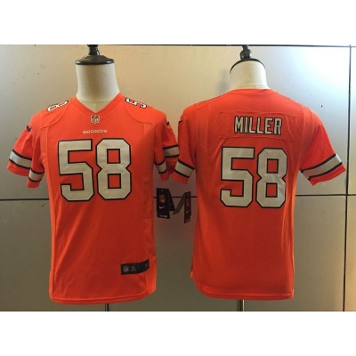 Nike NFL Broncos 58 Von Miller Orange Color Rush Youth Jersey