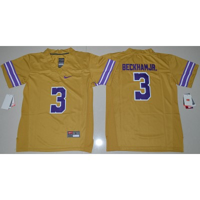 NCAA LSU Tigers 3 Odell Beckham Jr Yellow Limited Youth Jersey