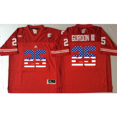 NCAA Wisconsin Badgers 25 Melvin Gordon III Red USA Flag Men Jersey
