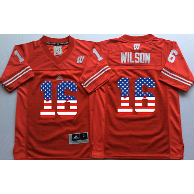 NCAA Wisconsin Badgers 16 Russell Wilson Red USA Flag Men Jersey