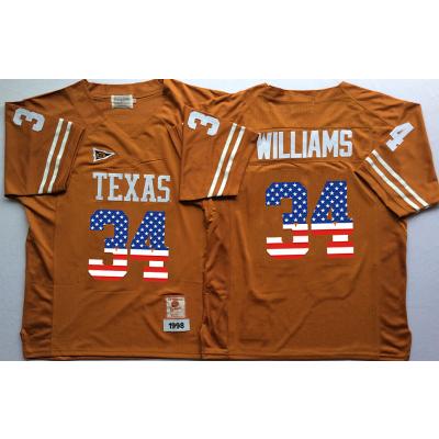 NCAA Texas Longhorns 34 Ricky Williams Orange USA Flag Men Jersey