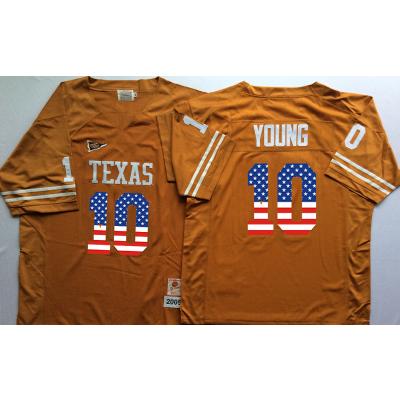 NCAA Texas Longhorns 10 Vince Young Orange USA Flag Men Jersey