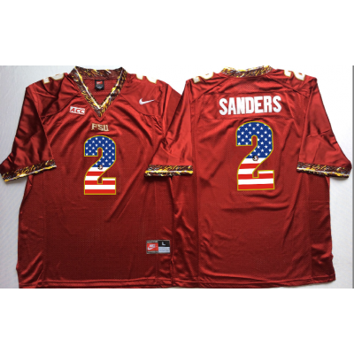 NCAA Florida State Seminoles 2 Deion Sanders Red USA Flag Men Jersey