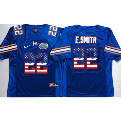 NCAA Florida Gators 22 Emmitt Smith Blue USA Flag Men Jersey