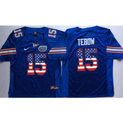 NCAA Florida Gators 15 Tim Tebow Blue USA Flag Men Jersey