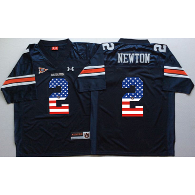 NCAA Auburn Tigers 2 Cameron Newton Navy USA Flag Men Jersey