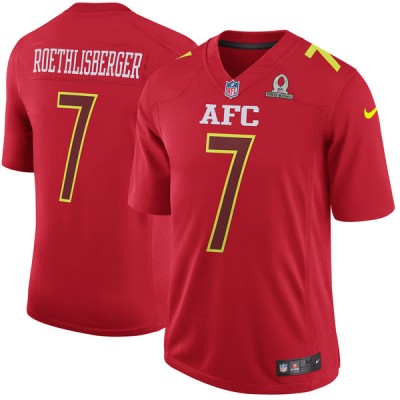 Nike NFL Steelers 7 Ben Roethlisberger AFC Red 2017 Pro Bowl Game Jersey