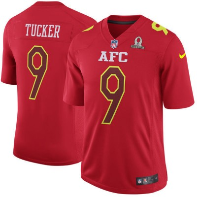 Nike NFL Ravens 9 Justin Tucker AFC Red 2017 Pro Bowl Game Jersey