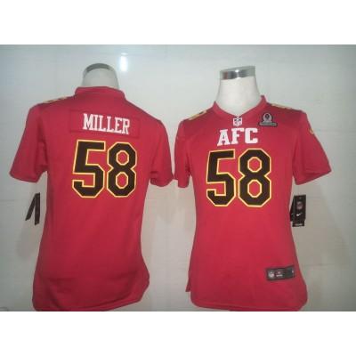 Nike NFL Broncos 58 Von Miller AFC Red 2017 Pro Bowl Women jersey