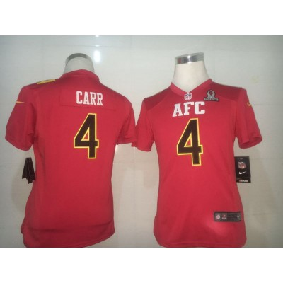 Nike NFL Raiders 4 Derek Carr AFC Red 2017 Pro Bowl Women Jersey