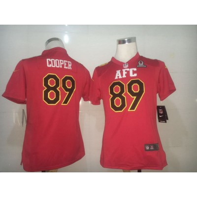 Nike NFL Raiders 89 Amari Cooper AFC Red 2017 Pro Bowl Women Jersey
