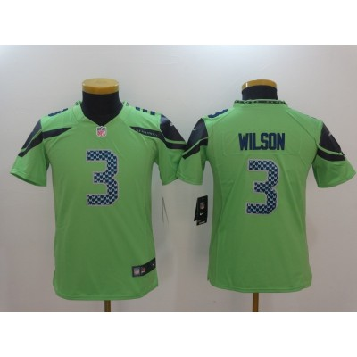 Nike Seahawks 3 Russell Wilson Green Color Rush Youth Limited Jersey