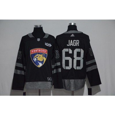 NHL Panthers 68 Jaromir Jagr Black 100th Anniversary Season Men Jersey