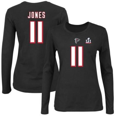 Atlanta Falcons 11 Julio Jones Black Women's Super Bowl IL T-Shirt