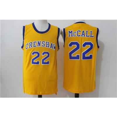 Movie Crenshaw 22 McCall Gold Basketball Men Jersey