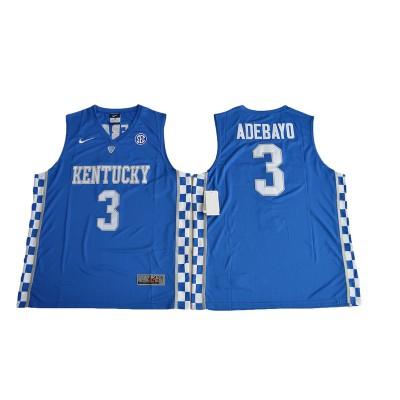 NCAA Kentucky Wildcats 3 Edrice Adebayo Blue Basketball Men Jersey