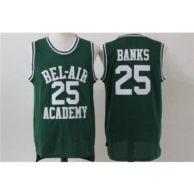 Movie Bel Air Academy 25 Banks Green Basketball Men Jersey
