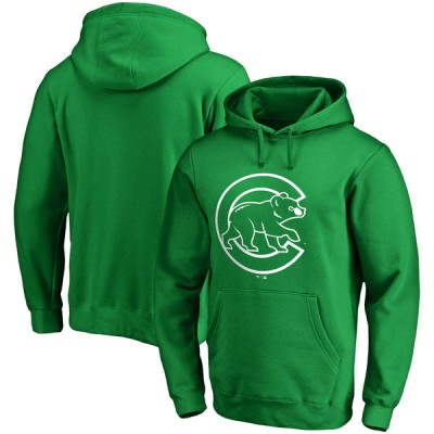 Chicago Cubs Fanatics Branded Green St. Patrick's Day White Logo Pullover Hoodie