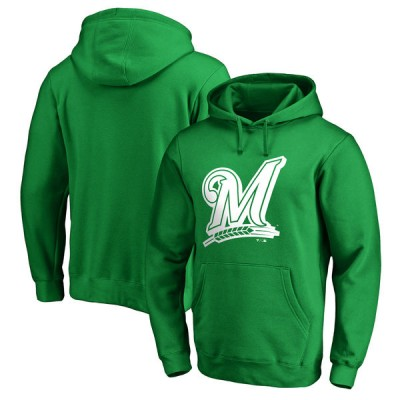 Milwaukee Brewers Fanatics Branded Kelly Green St. Patrick's Day White Logo Pullover Hoodie