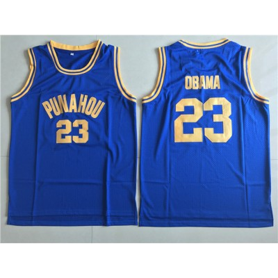 High School Punahou 23 Obama Blue Basketball Men Jersey