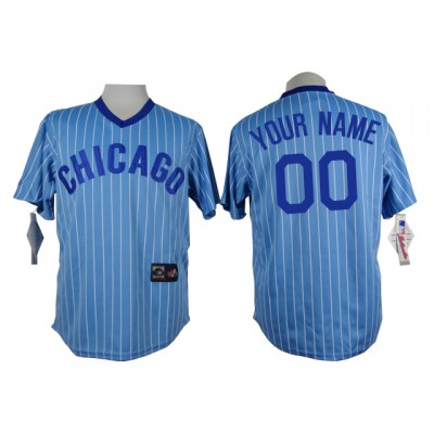 Chicago Cubs Blue Men's Customized Throwback Jersey
