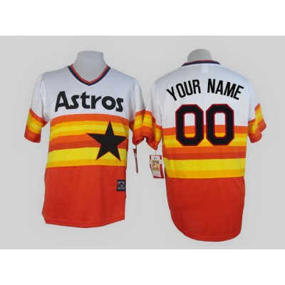 Houston Astros Orange Men's Customized Throwback Jersey