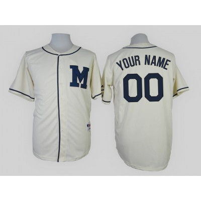 Milwaukee Brewers Cream Authentic Men's Customized Throwback Jersey