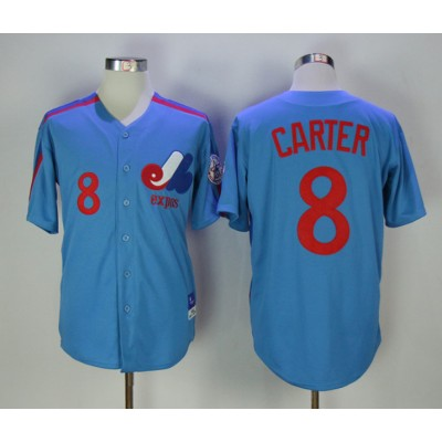 MLB Expos 8 Gary Carter Blue Throwback Mitchell And Ness Men Jersey