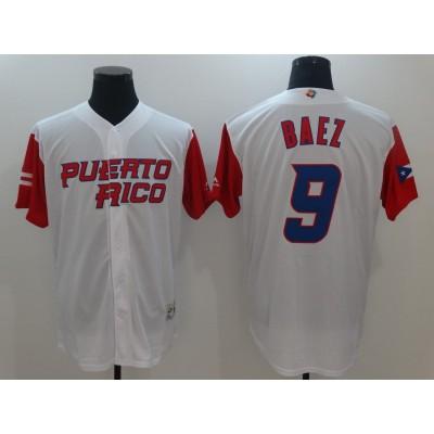 Puerto Rico Baseball 9 Javier Baez White 2017 World Baseball Classic Jersey