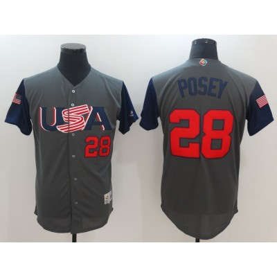 USA Baseball 28 Buster Posey Gray 2017 World Baseball Classic Jersey