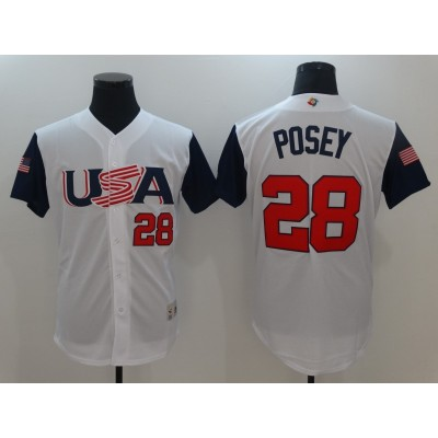 USA Baseball 28 Buster Posey White 2017 World Baseball Classic Jersey